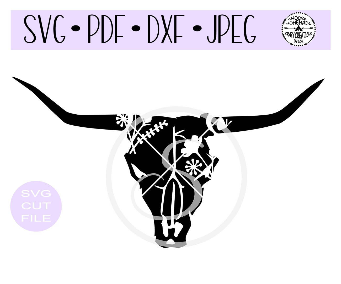 Cow Skull Floral Silhouette digital cut file for