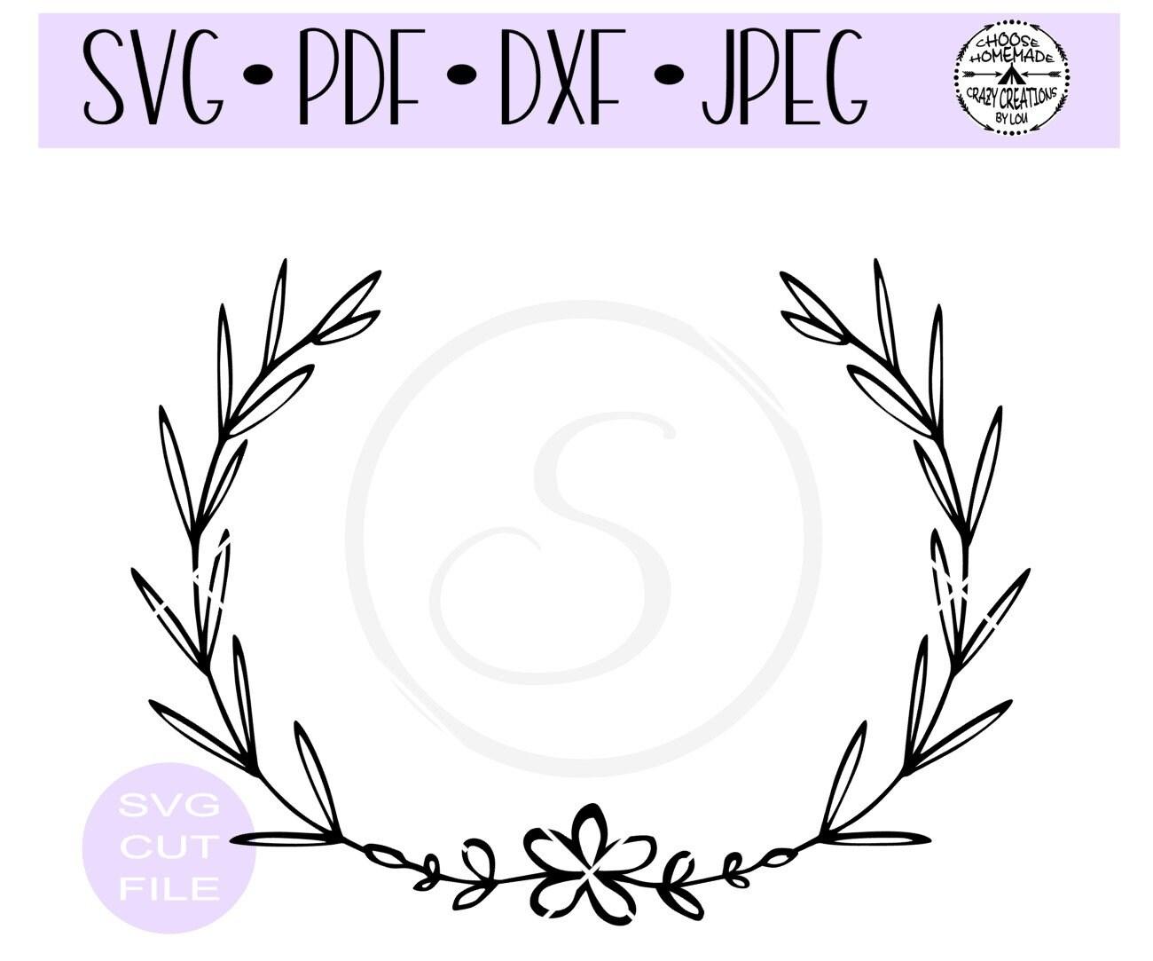 Floral Leaf Wreath Svg Digital Cut File For Etsy