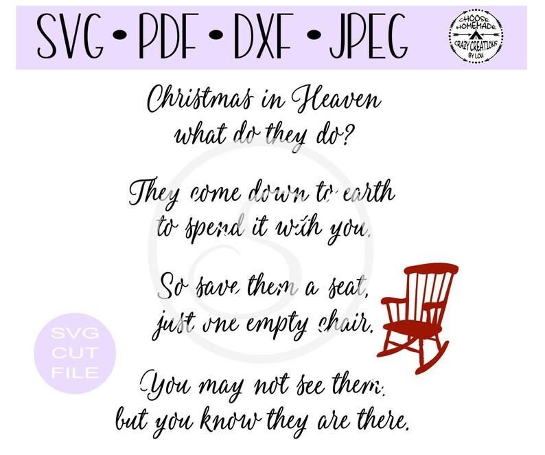 Christmas In Heaven Poem Svg.Christmas In Heaven Chair Red Chair Svg Digital Cut File For Htv Vinyl Decal Diy Plotter Vinyl Cutter Svg Dxf Jpeg Formats