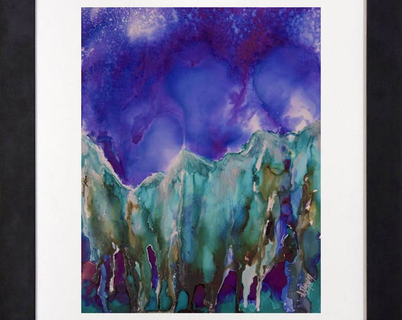 Mountain Art-Celestial Decor-Teal Decor-Boho Decor-Night Sky Art-Original Art-Alcohol Ink Painting-Home Decor Gifts-Watercolor Home Decor