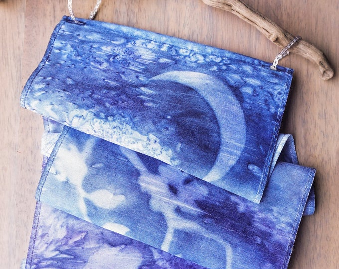 Cherry Blossom Art-Crescent Moon Decor-Watercolor Silk Tapestry-Navy Blue Wall Hanging-Nature Tapestry-Boho Decor-Watercolor Home Decor