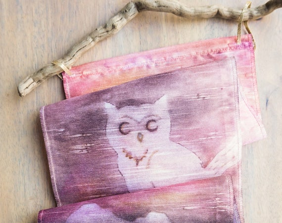 Owl Gifts-Watercolor Silk Tapestry-Owl Decor-Bird Art-Boho-Wall Hanging-Nature Art-Bohemian Tapestry-Home Decor Gift-Watercolor Home Decor