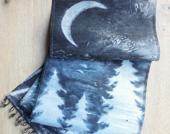 Forest Tapestry-Black & White Wall Art-Textile Wall Hanging-Crescent Moon Art-Bohemian Decor-Cabin Decor-Nature Tapestry-Winter Decor-Snow