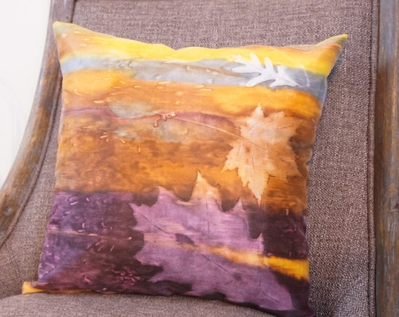 Fall Pillow-Leaves Pillow-Pillow Cover and Insert-Rustic Decor-Lodge Decor-Lodge Pillow-Cabin Decor-Fiber Art Pillow-Hand Painted Pillow