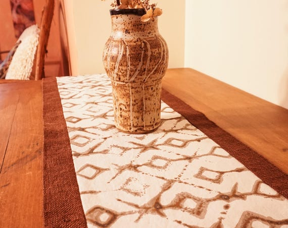 Burlap Table Runner-Tribal Fabric-Table Centerpiece-Tableware-Global Decor-Boho Decor-Geometric Decor-Rustic Decor-Entryway-Home Decor Gifts