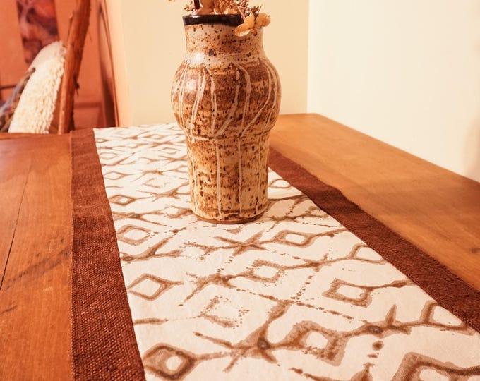 Burlap Table Runner-Tribal Fabric-Table Centerpiece-Tableware-Global Decor-Boho Decor-Geometric Decor-Rustic Decor-Entryway-Home Decor Gifts