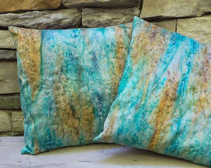 Teal Blue Pillow Cover 18x18-Watercolor Silk Pillow-Aqua Pillow-Bohemian Decor-Boho Decor-Coastal Decor-Beach Decor-Watercolor Home Decor