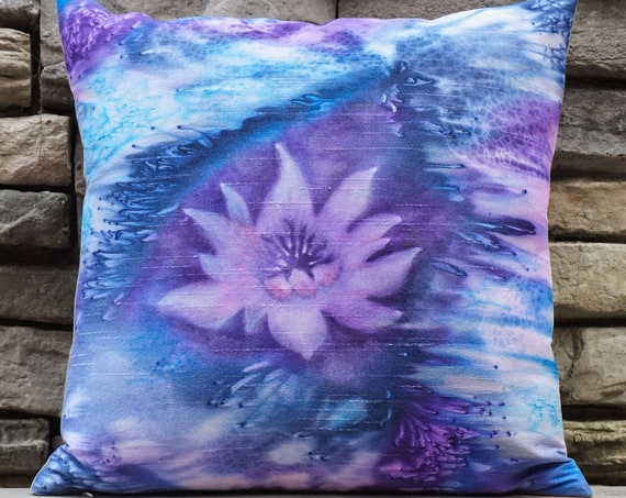 Lotus Flower Pillow-Watercolor Silk Pillow-Lavender-Boho Decor-Bohemian Pillow-Zen Decor -Yoga Gifts-Home Decor Gift-Watercolor Home Decor