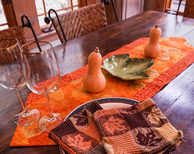 Thanksgiving Table Runner-Autumn Decor-Burnt Orange Table Runner-Gold Table Decor-Tableware-Metallic Gold Decor-Table Linens-Home Decor Gift