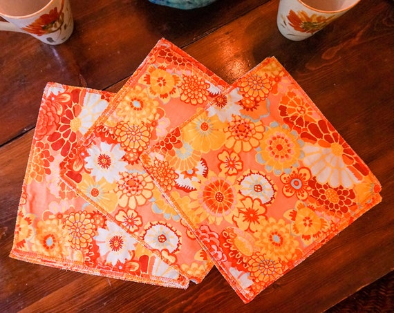 Cloth Napkins-Fall Flowers-Flower Napkins-Boho Table Decor-Shabby Chic Table-Eco Friendly Gifts-Party Decor-Cottage Decor-Burnt Orange Decor