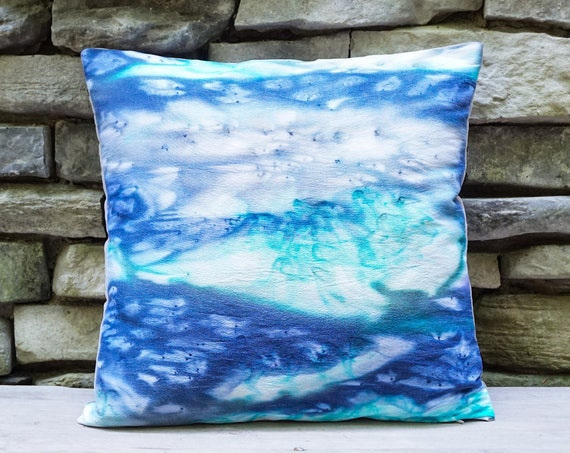 Navy Teal Pillow-Teal Throw Pillow-Teal Decor-Modern Decor-Coastal Pillows-Beach Decor-Home Decor Gifts-Unique Gifts-Watercolor Home Decor
