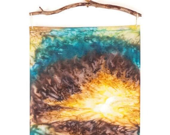 Textile Art Wall Hanging-Teal Decor-Gifts for Men-Bohemian Decor-Southwestern Decor-Desert Art-Modern Rustic Decor-Abstract Art-Fiber Art