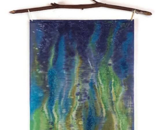 Blue Green Art-Textile Wall Hanging-Bohemian Decor-Modern Art-Ocean Painting-Tapestry-Green Wall Art-Coastal Decor-Beach Decor-Abstract Art