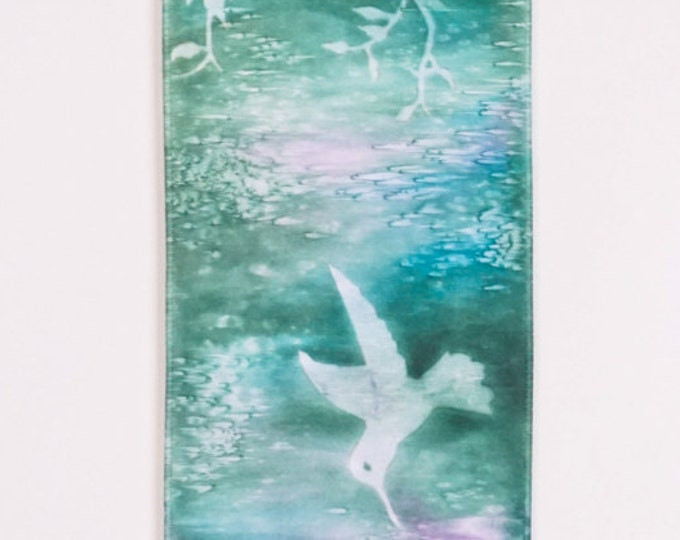 Hummingbird Art-Watercolor Silk Tapestry-Tiny House Decor-Wall Hanging-Bohemian Decor-Cottage Decor-Shabby Chic Decor-Watercolor Home Decor