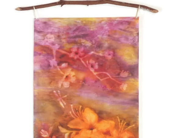 Coral Pink Wall Art-Tropical Flowers-Art Nouveau Tapestry-Coral Pink Nursery Decor-Textile Wall Hanging-Bohemian Wall Decor-Shabby Chic Art