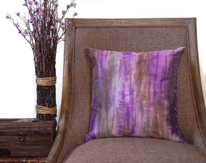 Purple  Pillow 18x18-Watercolor Silk Pillow-Boho Decor-Bohemian Pillow-Lavender Decor-Purple Decor-Home Decor Gifts-Watercolor Home Decor