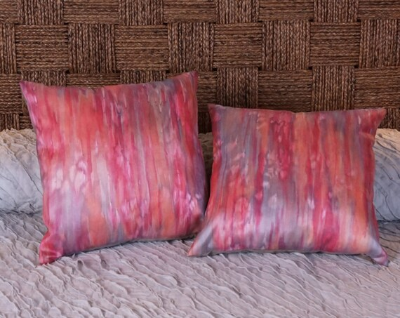 Coral Pillow-Red Coral Pillow-Red & Gray Pillow-Silk Pillow-Hand Painted Pillow-18x18 Pillow Cover-Boho Pillow-Bohemian Decor-Modern Pillows