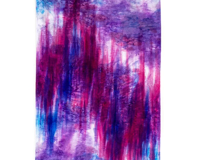 Ikat Wall Hanging-Magenta Wall Art-Fiber Art-Abstract-Watercolor Silk Tapestry-Modern Rustic Decor-Bohemian Tapestry-Watercolor Home Decor