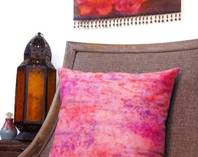 Pink Pillow 18x18-Bright Throw Pillow-Girls Room Decor-Girls Nursery Decor-Shabby Chic Decor-Cottage Decor-Pink Decor-Watercolor Home Decor