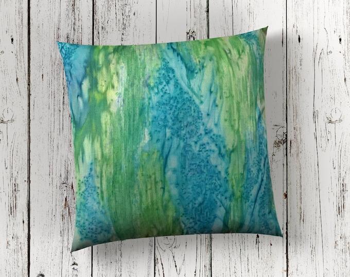 Beach Decor-Modern Pillow Cover-Watercolor Silk Pillow-Blue & Green Pillow-Coastal Decor-Ocean Decor--Home Decor Gifts-Watercolor Home Decor