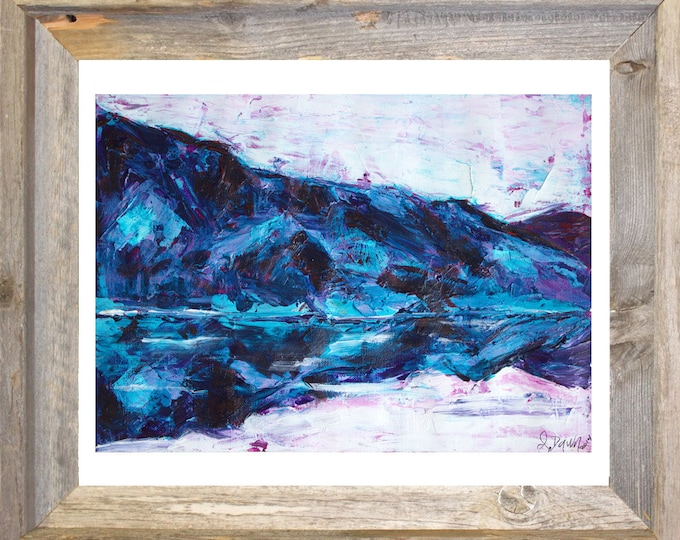 Lake House Decor-Mountain Art-Blue Wall Art-Lodge Decor-Landscape Painting-Original Painting-Unique Gifts-Gift for Him-Home Decor Gifts
