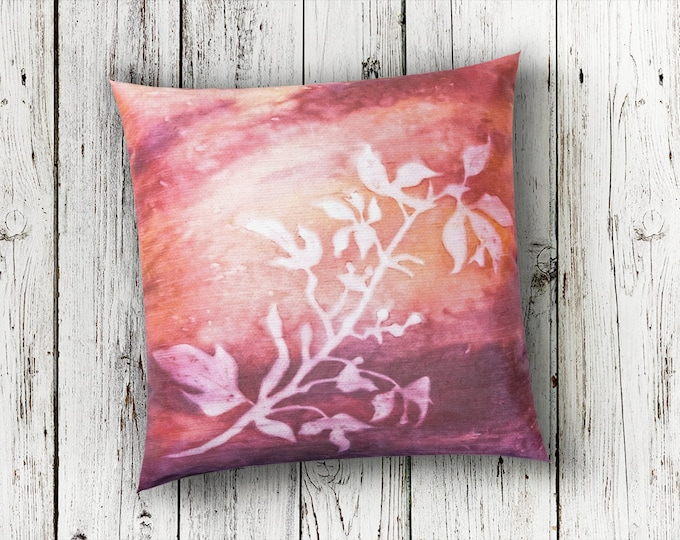 Dusty Rose Pillow Cover 18x18-Autumn Pillow Cover-Fall Decor-Coral Throw Pillow-Rustic-Cottage Decor-Home Decor Gifts-Watercolor Home Decor