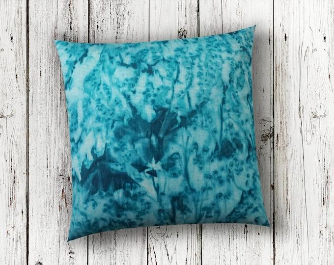 Teal Pillow-Watercolor Silk Pillow-Desert Decor-Beach Decor-Coastal Decor-Bohemian Decor-Turquoise Decor-Home Decor-Watercolor Home Decor
