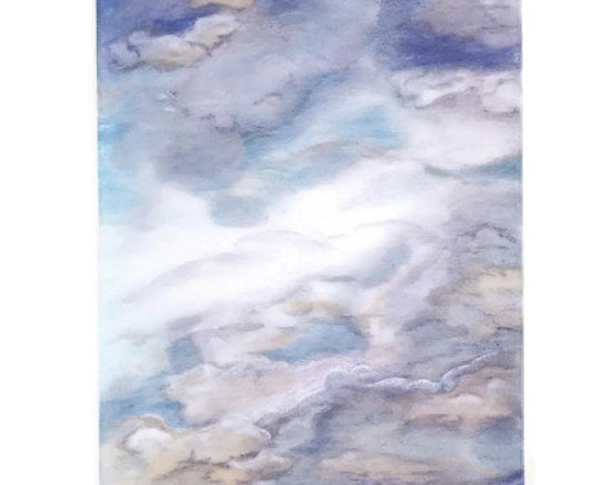 Cloud Tapestry-Cloud Nursery Decor-Cloud Art-Gray Tapestry-Gray Wall Art-Blue Wall Art-Home Decor Gift-Christmas Gift-Watercolor Home Decor