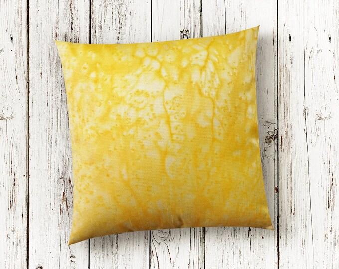 Yellow Pillow 18x18-Watercolor Silk Pillows-Yellow Throw Pillow-Yellow Decor-Bright Pillows-Boho Decor-Home Decor Gift-Watercolor Home Decor
