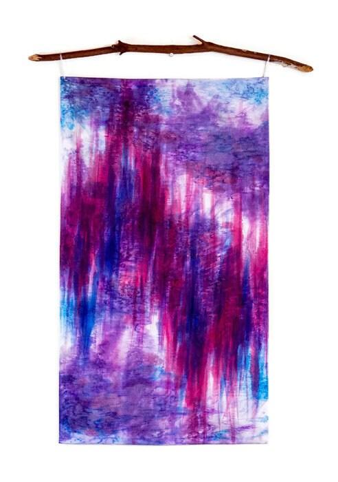 Ikat Wall Hanging-Magenta Wall Art-Fiber Art-Abstract-Watercolor ...
