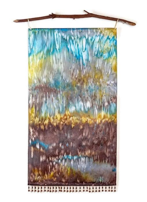 Blue Brown Art Wall Hanging Rustic Wall Decor Textile Art Modern Art