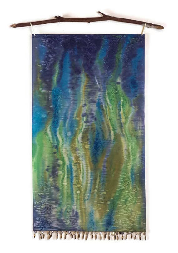 Blue Green Art-Textile Wall Hanging-Bohemian Decor-Modern Art-Ocean Painting-Tapestry-Green Wall Art-Coastal Decor-Beach Decor-Abstract Art