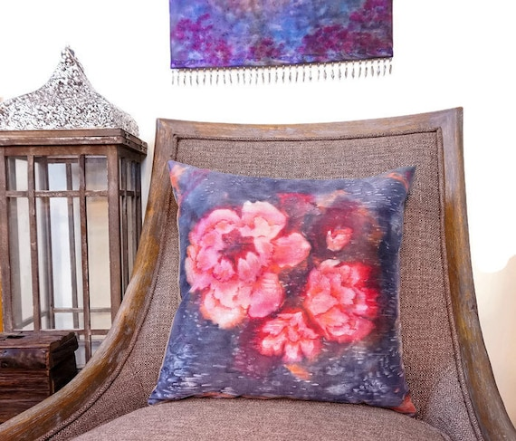 Large Scale Flower Pillow-Watercolor Silk Pillow-Pink Decor-Garden Decor-Shabby Chic Decor-Cottage Decor-Gift for Her-Watercolor Home Decor