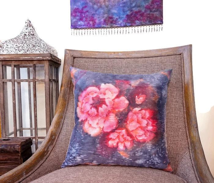 Large Scale Flower Pillow Watercolor Silk Pillow Pink Decor Garden