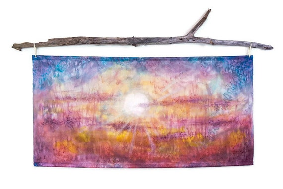 Sunrise Tapestry-Textile Art-Art Over Bed-Rustic Wall Decor-Fiber Art Wall Hanging-Desert Decor-Colorful Art-Boho Decor-Horizontal Wall Art
