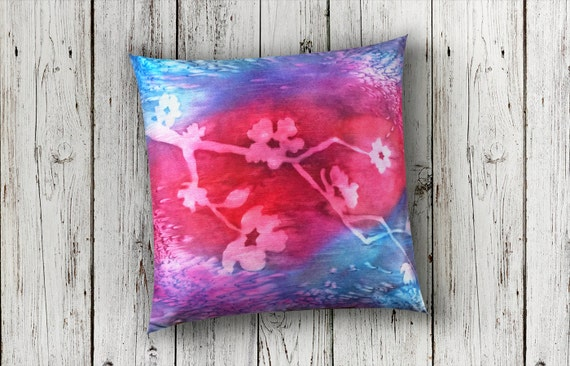 Fuchsia Pillow-Watercolor Silk Pillow-Cherry Blossom Pillow-Floral Decor-Boho Decor-Tiny House Gift-Home Decor Gifts-Watercolor Home Decor