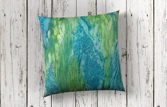Beach Decor-Modern Pillow Cover-Watercolor Silk Pillow-Blue & Green Pillow-Coastal Decor-Ocean Decor--Home Decor Gifts-Watercolor Home Decor
