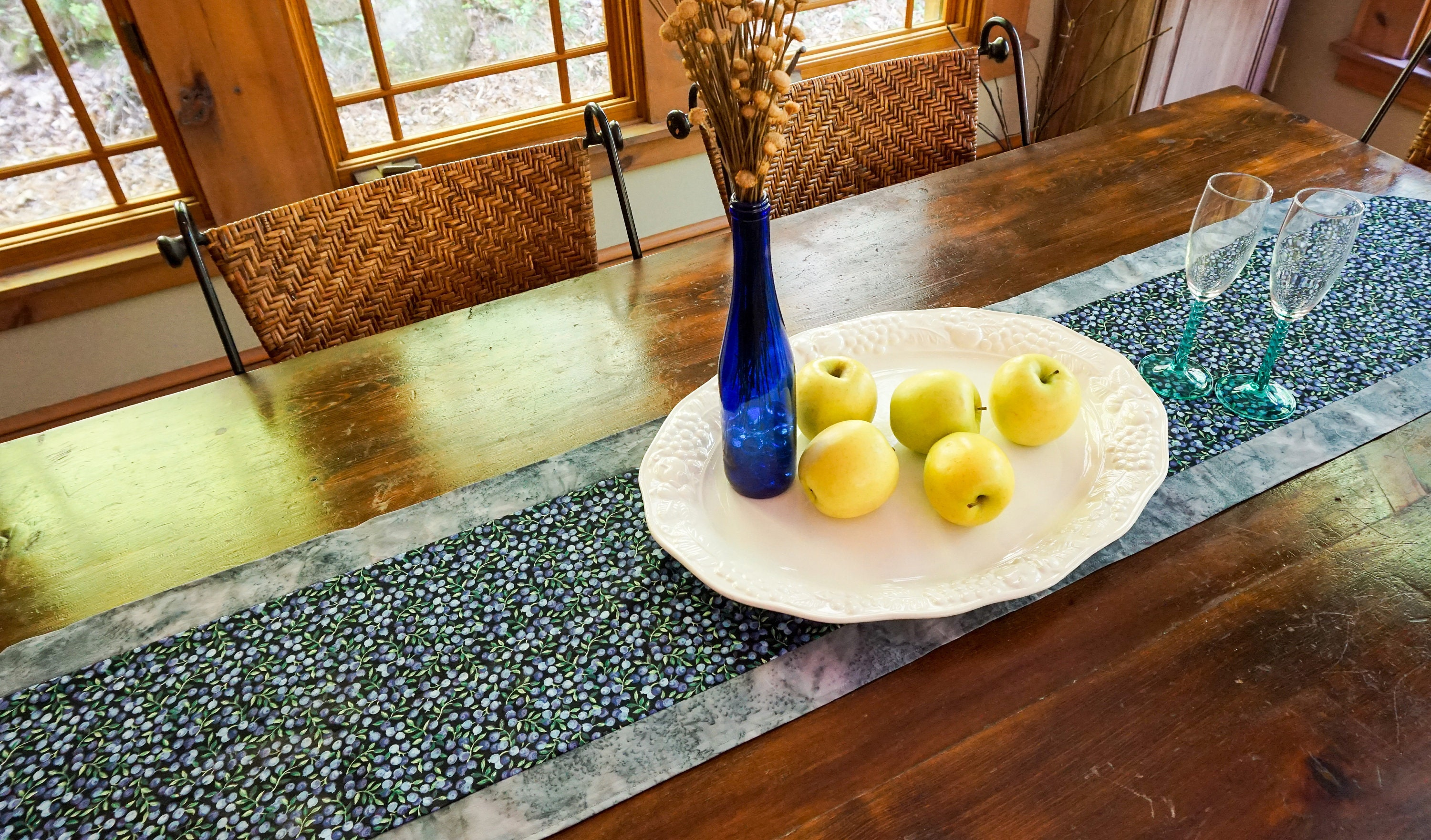Genial Blueberry Kitchen Decor Blue Table Runner Fruit Kitchen Decor Fruit Party  Supplies Table Centerpiece Boho Cottage Decor Farmhouse Decor