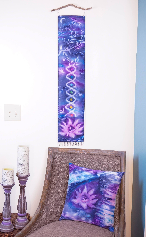 Lotus Flower Pillow Watercolor Silk Pillow Lavender Boho Decor