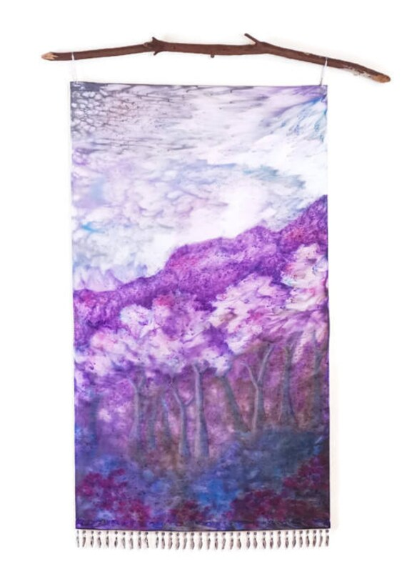 Mountain Tapestry-Trees Art-Lavender Decor-Landscape Tapestry-Textile Art-Wall Hanging-Boho Cottage Decor-Shabby Chic Decor-Gift for Her