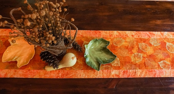 Fall Decor-Thanksgiving Table Decor-Gold Table Runner-Burnt Orange Decor-Table Linens-Centerpiece for Table-Metallic Gold-Home Decor Gifts