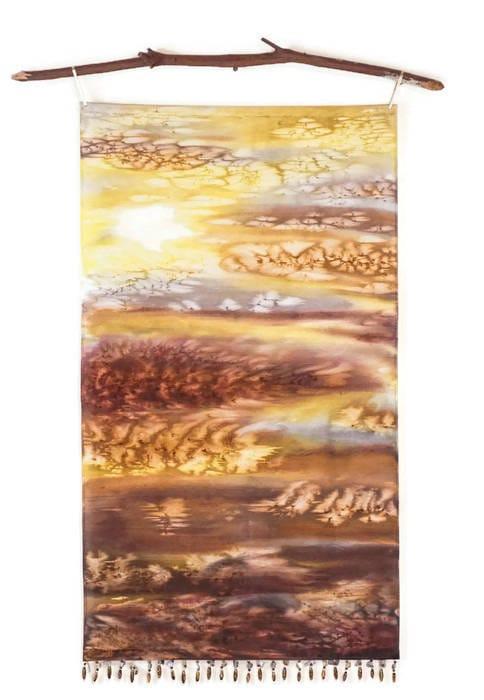 Yellow & Gray Wall Art-Watercolor Silk Tapestry-Yellow and Gray ...