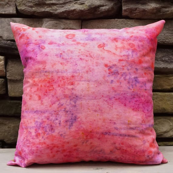 Pink Pillow 18x18-Bright Throw Pillow-Girls Room Decor-Girls Nursery Decor-Shabby Chic Decor-Cottage Decor-Pink Decor-Watercolor Home Decor