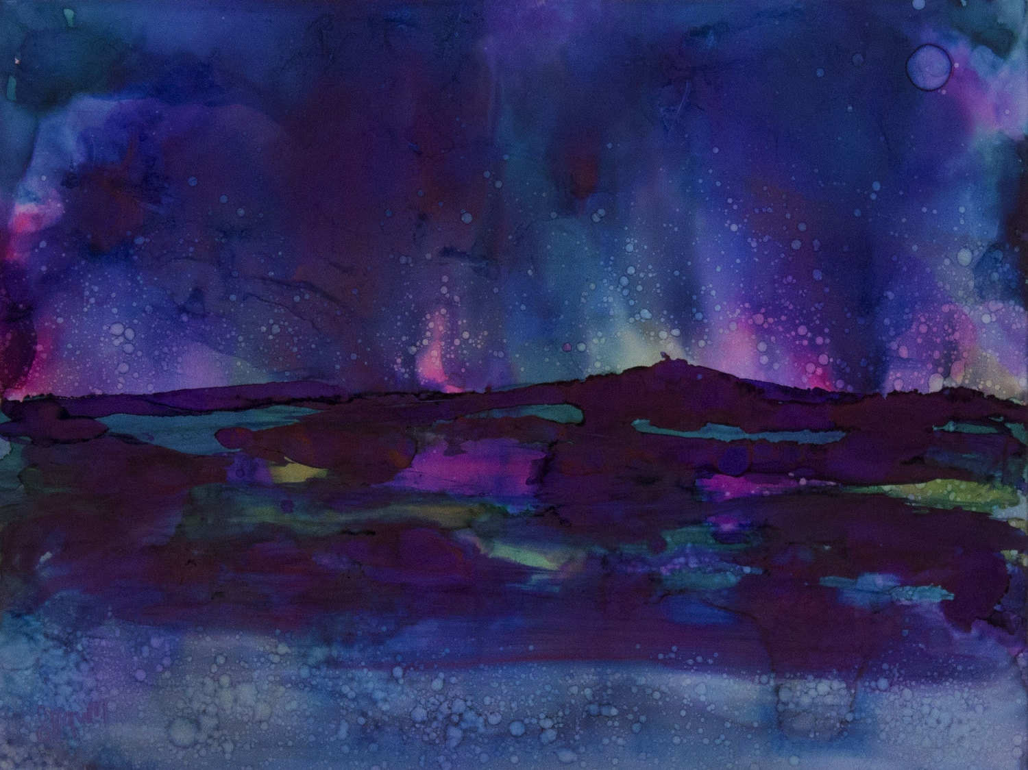 Navy Blue Wall Art-Northern Lights Painting-Celestial