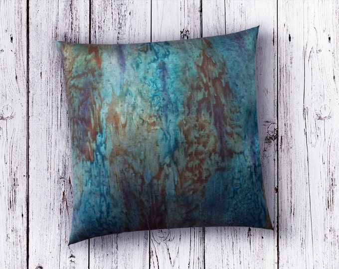 Teal Pillow Cover 18x18-Teal Throw Pillows-Teal Decor-Rustic Modern Decor-Lodge Pillows-Burnt Orange Pillow-Boho Decor-Watercolor Home Decor