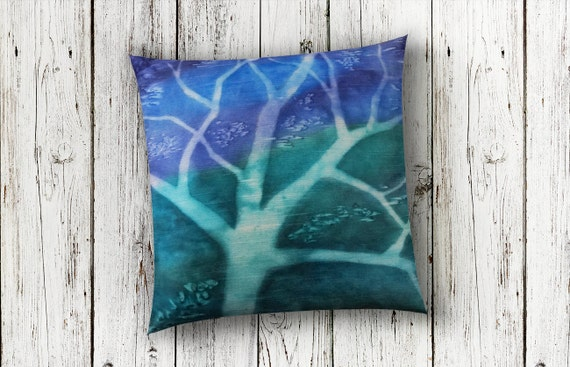 Tree Pillow-Blue & Green Pillow-Teal Decor-Teal Pillow-Woodland Nursery-Nature Art-Fiber Art Pillow-Hand Dyed Pillow-Modern Rustic Decor