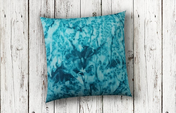 Teal Pillow-Watercolor Silk Pillow-Desert Decor-Beach Decor-Coastal Decor-Bohemian Decor-Turquoise Decor-Home Decor-Watercolor Home Decor