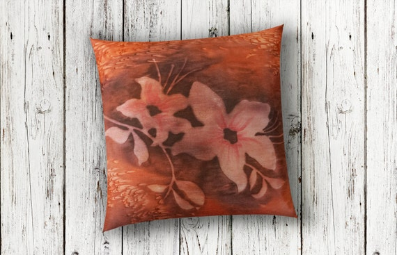 Burnt Orange Pillow 18x18-Watercolor Silk Pillow-Rust Pillow-Floral Pillow-Lodge Decor-Cottage Pillow-Boho Decor-Watercolor Home Decor