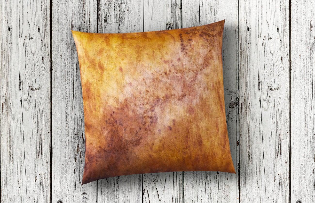 Golden Pillow Amber Pillow Rustic Modern Decor Fiber Art