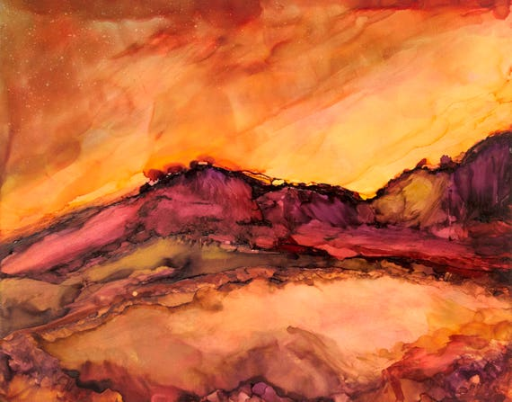 Desert Art-Sunset Painting-Southwestern Decor-Mountain Art-Western-Nature Art-Matted Art-Rustic Decor-Home Decor Gifts-Watercolor Home Decor
